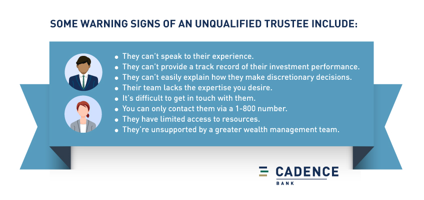 some warning signs of an unqualified trustee