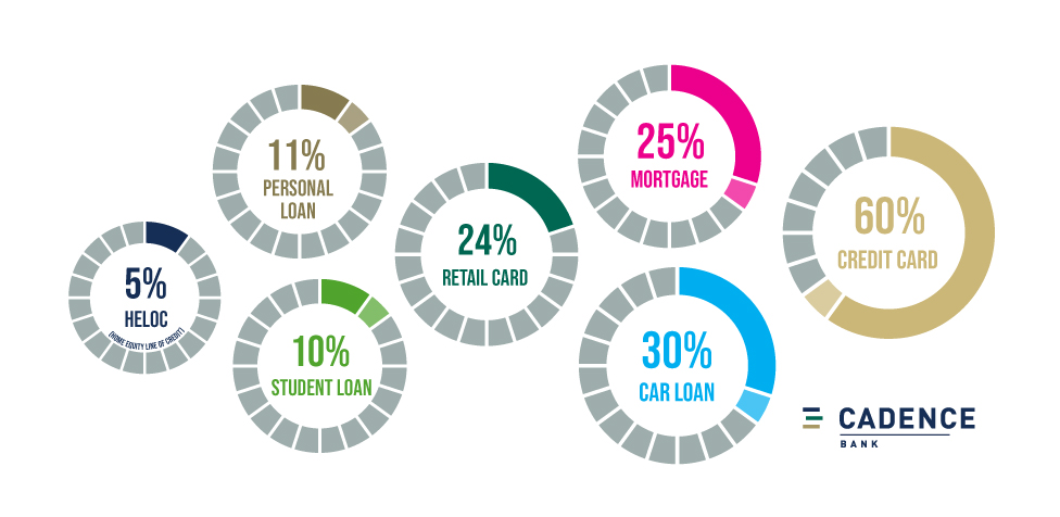 the breakdown of the percentage of consumers with each kind of debt